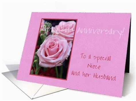 wedding anniversary wishes niece 2nd anniversary niece husband pink roses greeting card