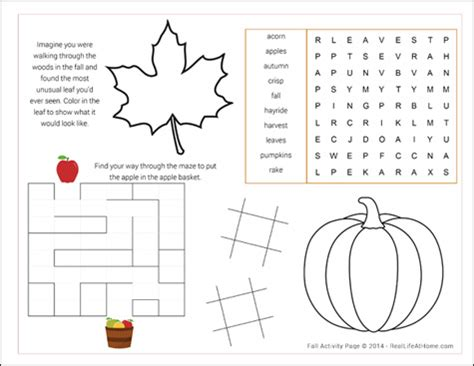St Grade Holiday Crafts - fall activity page printable
