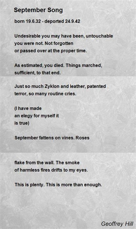 song poem september song poem by geoffrey hill poem