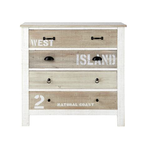 White And Wood Chest Of Drawers by Wooden Chest Of Drawers In White W 90cm Noirmoutier