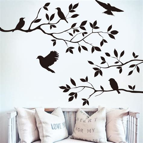 removeable wall stickers black bird tree branch wall paper decals removable vintage kitchen wall sticker home