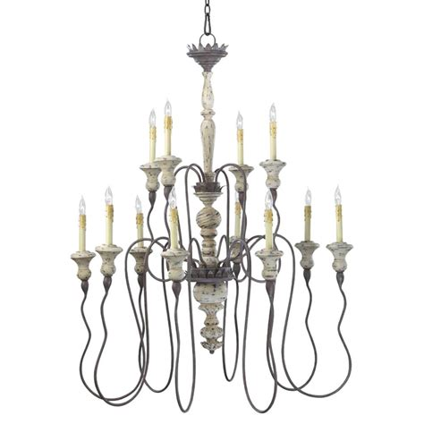 Lights And Chandeliers Provence Country White And Grey Wash 12 Light Chandelier Kathy Kuo Home