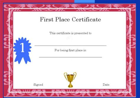 1st place certificate template winner certificate template 40 word templates for
