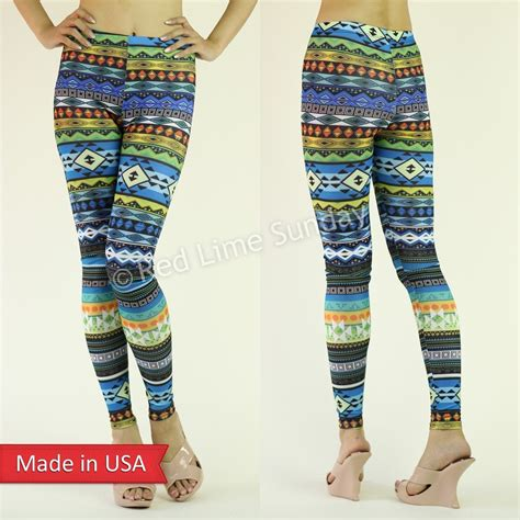 tribal pattern tights new women colorful aztec tribal pattern blue print