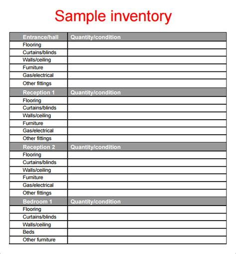 inventory for rental property template sle property inventory template 9 free documents