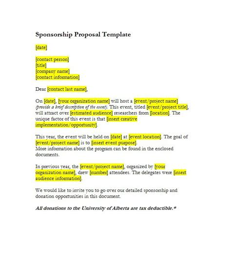 40 Sponsorship Letter Sponsorship Proposal Templates Sponsorship Opportunities Template