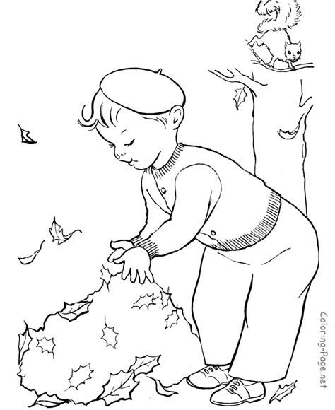 coloring pages fall out boy fall coloring book page little boy raking leaves
