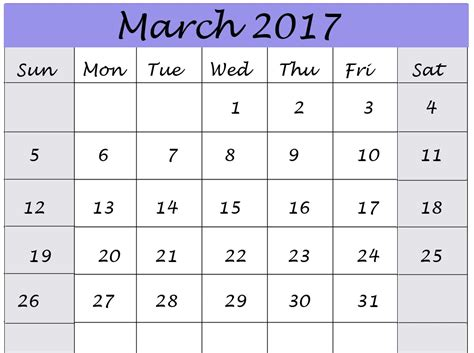 Printable March 2017 Calendar Template Calendar And Images Template For 2017 Calendar