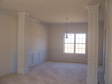 interior home columns living and dining room combined hardwood paint