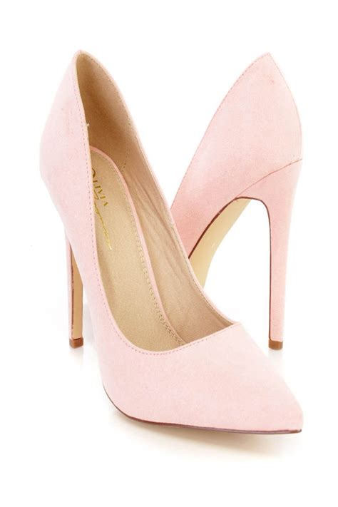 blush high heels blush pointed toe single sole high heels faux suede