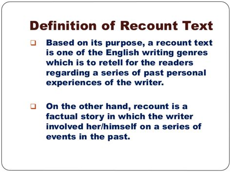 recount text english for pleasure recount text presentation on ict program