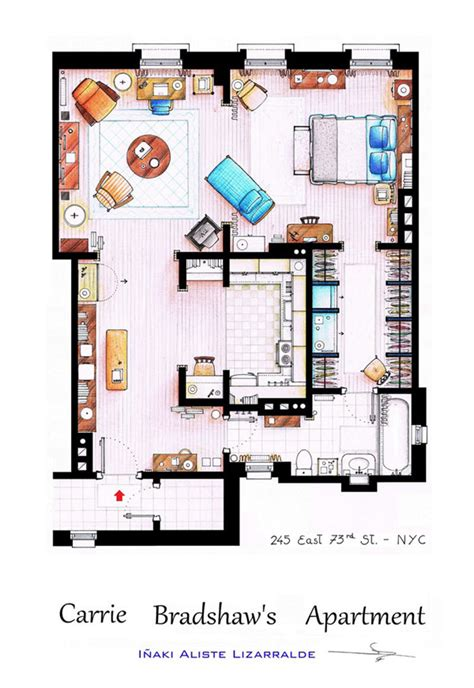 Carrie Bradshaw Apartment Floor Plan | 10 floor plans of the most famous tv apartments in the