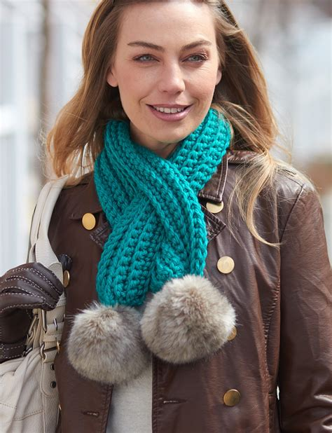 fur pattern free pick bernat pull through pompom scarf crochet pattern