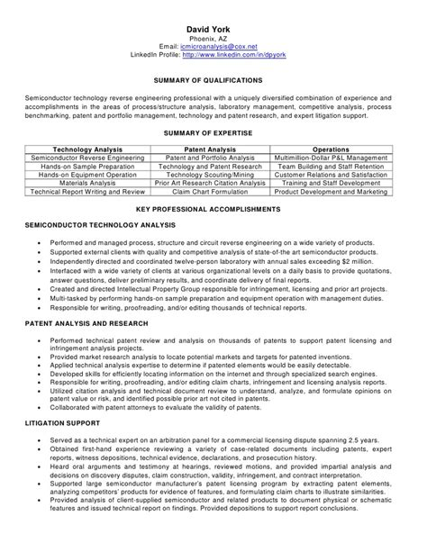 Patent Trainee Sle Resume by Dave York Resume Technology And Patent Researcher Analyst