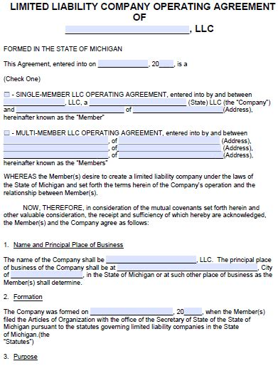 Free Michigan Llc Operating Agreement Template Pdf Word Llc Operating Agreement Michigan Template