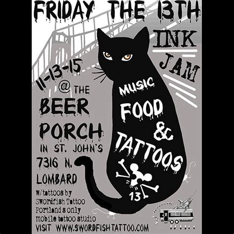 friday the 13th tattoos portland swordfish will be in stjohn s at the porch