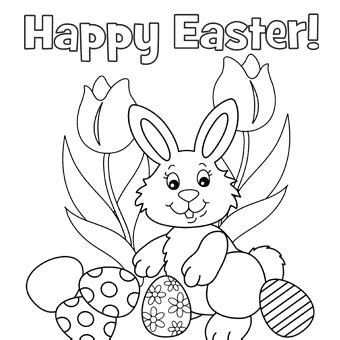 Easter Bunny Coloring Pages Pdf | printable easter coloring pages that say happy easter for