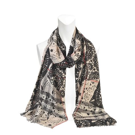 Silk Patchwork Scarf - burberry lace patchwork wool silk gauze scarf in black