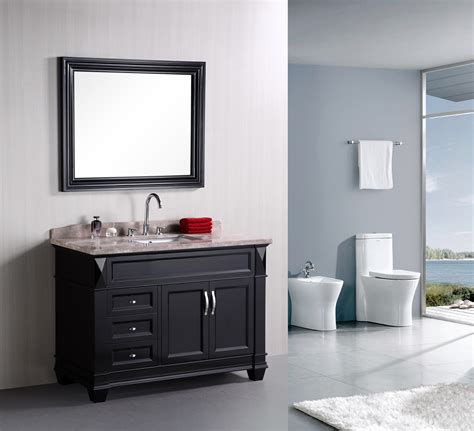 amazing espresso painted wall gray bathroom vanity with single sink and chrome curved taps also
