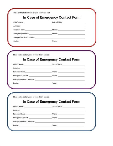 Kids Id Card Template You Can Download And Print The Form As Well In A Pdf Format Pinterest Contact Card Template