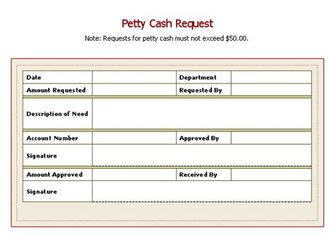 petty disbursement form template petty request slip