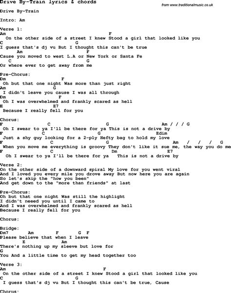 drive by lyrics love song lyrics for drive by train with chords