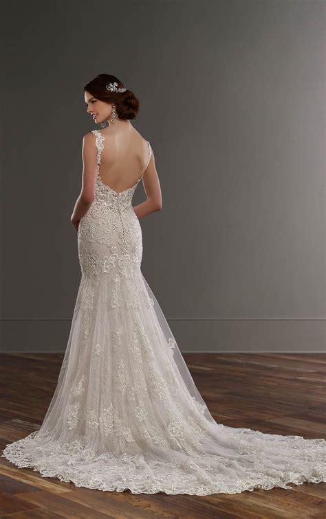 beaded back wedding dress low back wedding dress with beaded lace martina liana