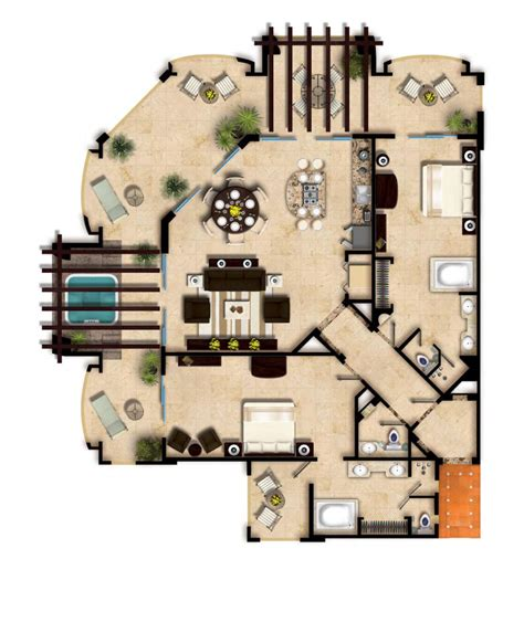 4 Bedroom Ranch Floor Plans two bedroom master residence villa del palmar cancun