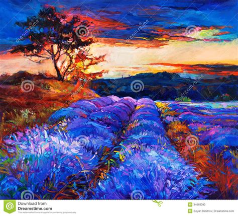 painting impressionism modern large original lavender fields stock photos image 34668093