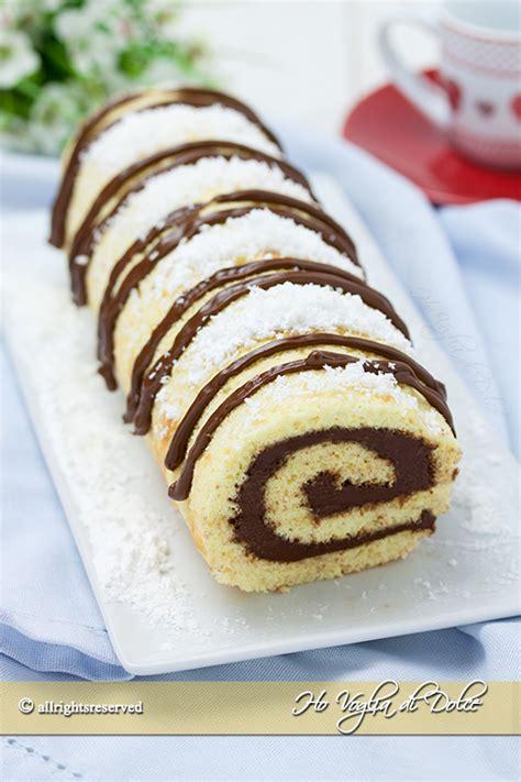 decorare rotolo dolce rotolo cocco e nutella ricetta ho voglia di dolce