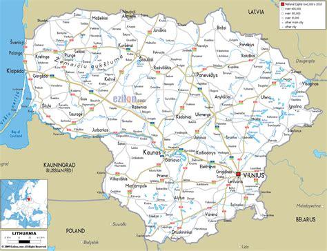 map of lithuania road map of lithuania ezilon maps