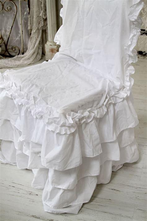 white ruffled chair cushions shabby chic style chair slipcover white ruffle chair pads