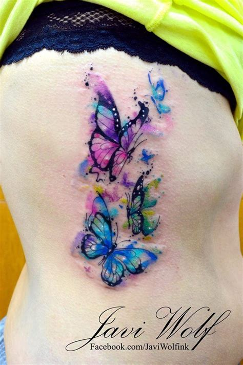 butterfly tattoos on buttocks watercolor butterflies tattooed by javiwolfink www