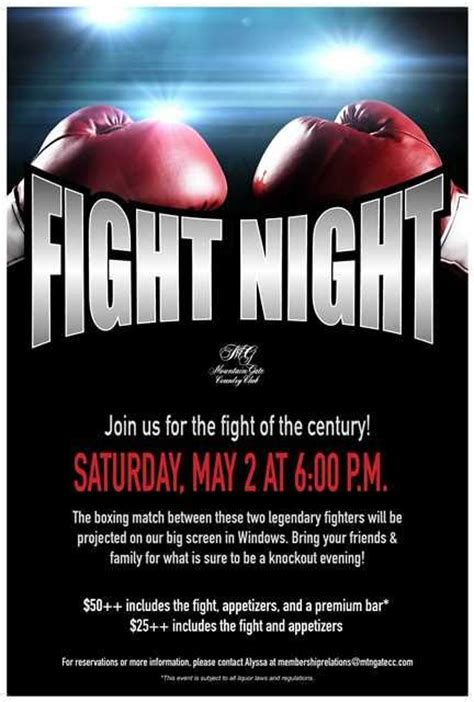 Fight Night Flyer Poster Template At Mountaingate Country Club Adult Events Pinterest Fight Poster Template