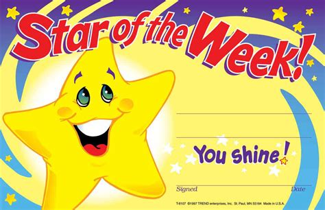 30 childrens star of the week you shine reward