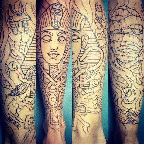 egyptian quarter sleeve tattoo unfinished egyptian themed sleeve by romeo lacoste