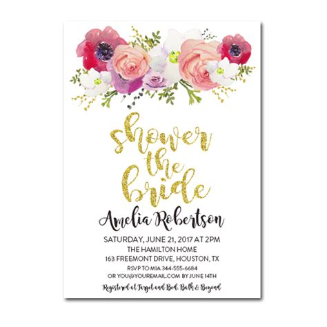 Editable PDF Bridal Shower Invitation DIY ? Gold Glitter