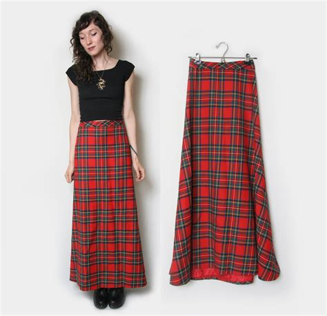 plaid maxi skirt tartan maxi skirt by