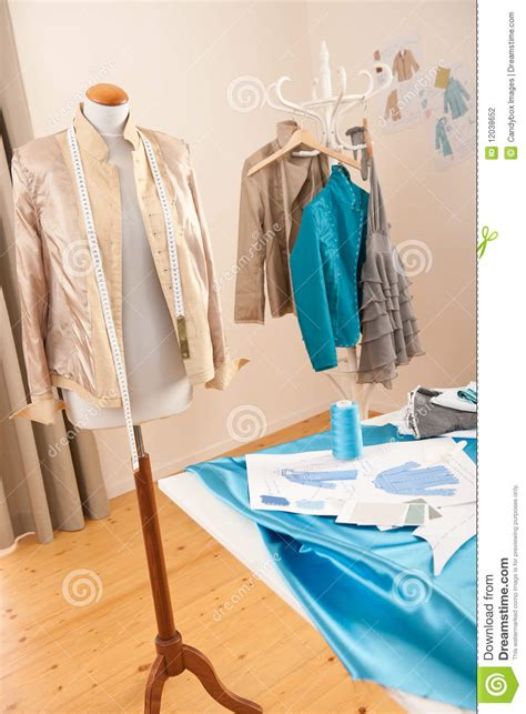 dress design equipment fashion designer studio with mannequin stock photography