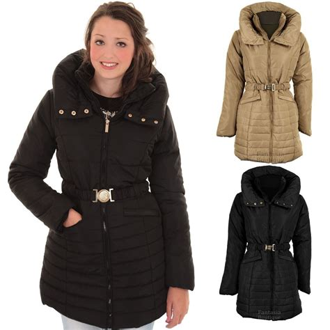 Womens Quilted Winter Coats by Quilted Padded Belted Puffer Black Beige S
