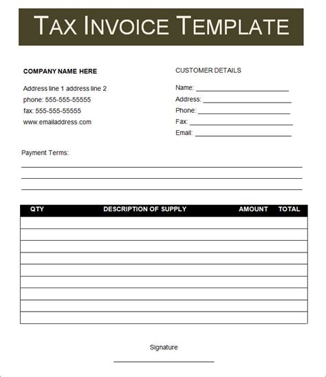 tax invoice statement template tax invoice format word hardhost info