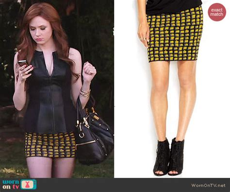 Dress Mini Bodycon Tile Peplum 18810 wornontv eliza s black leather split neck top and yellow