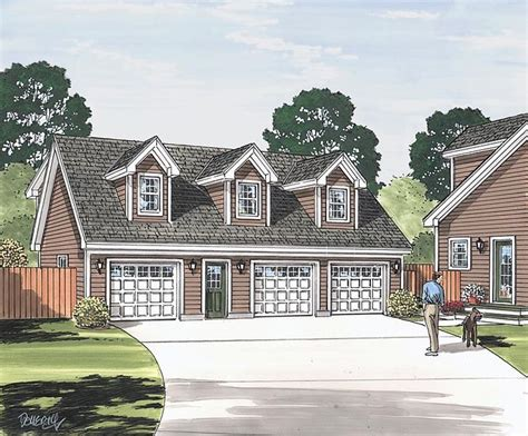 cape cod saltbox traditional garage plan 30034