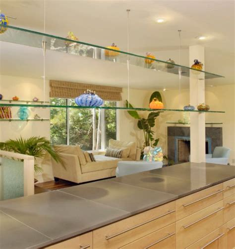 kitchen island shelves sleek functional and versatile glass shelving designs for