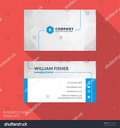 stationery business card template creative business card print template flat stock vector