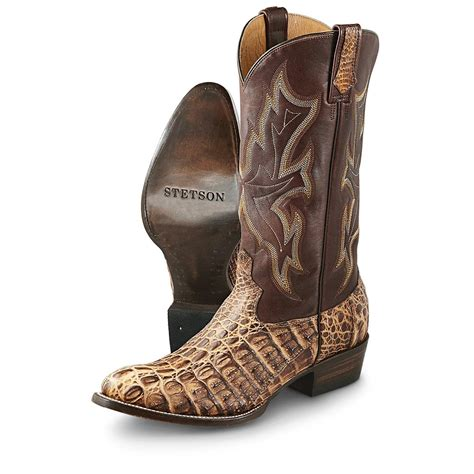 mens gator boots s stetson 174 caiman alligator western boots rustic