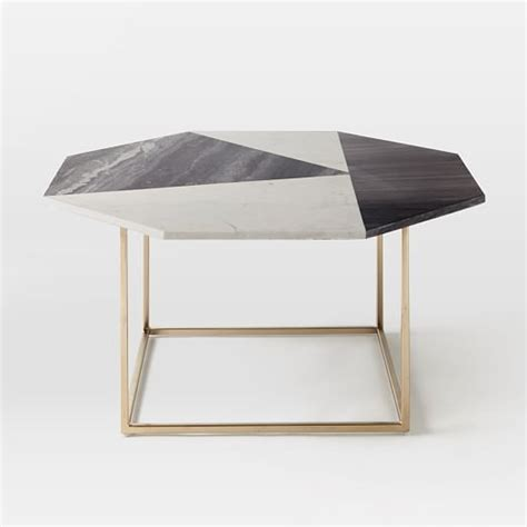 marquetry marble coffee table west elm