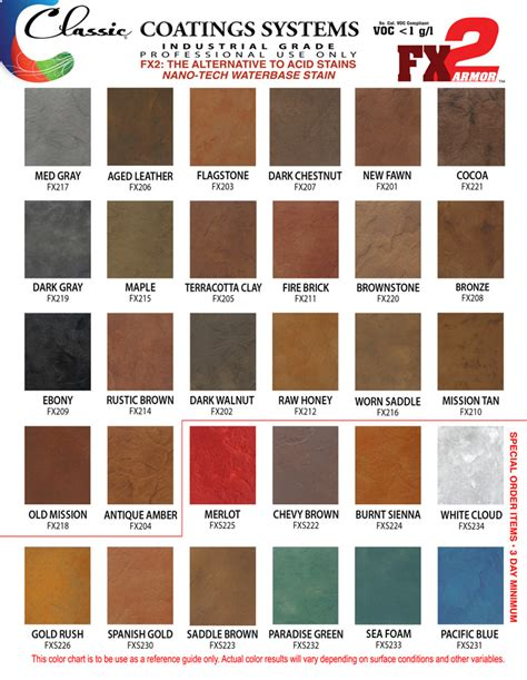 classic colors classic fx2 armor stain colors