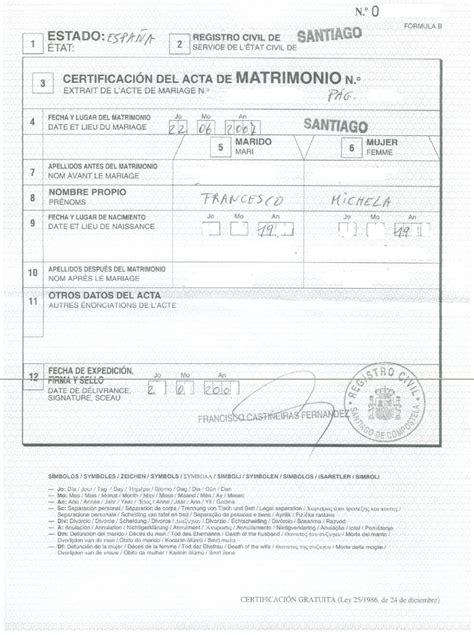 consolato cubano a roma certificato matrimonio plurilingue per trascrizione
