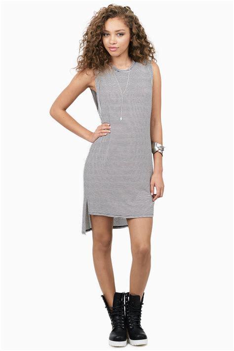 Id 289 Black White Stripe Dress black white day dress black dress striped dress 9 00